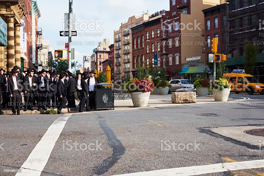 group of orthodox hasidim jews stock photo