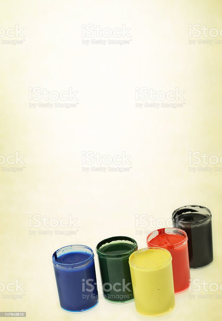 group of paint cups royalty-free stock photo