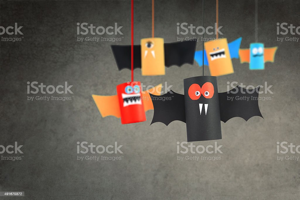 Group of Paper bats. stock photo