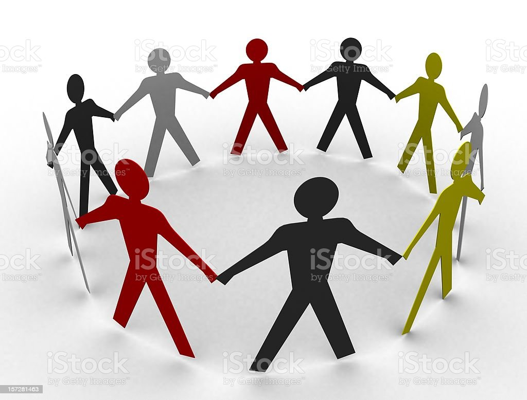 Group of Paper Peoples - Circle Humanity stock photo