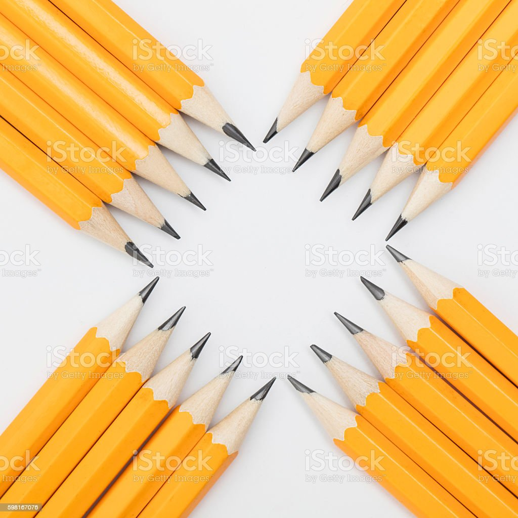 Group of pencils creating a square stock photo