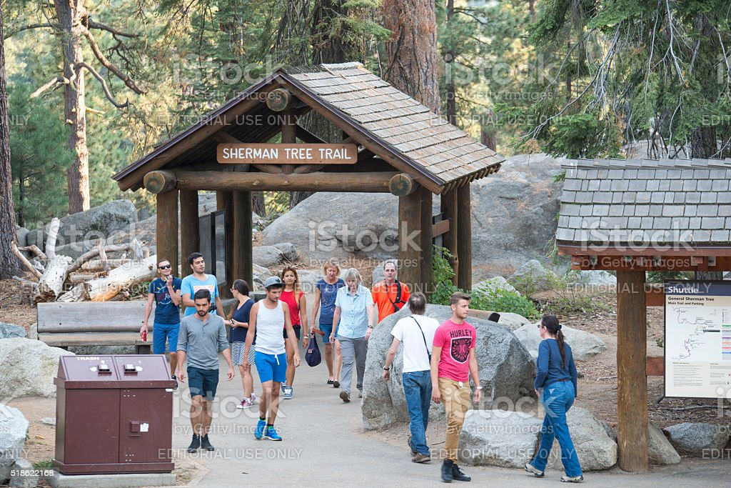 Group of peolple walking to and from Sherman trail royalty-free stock photo
