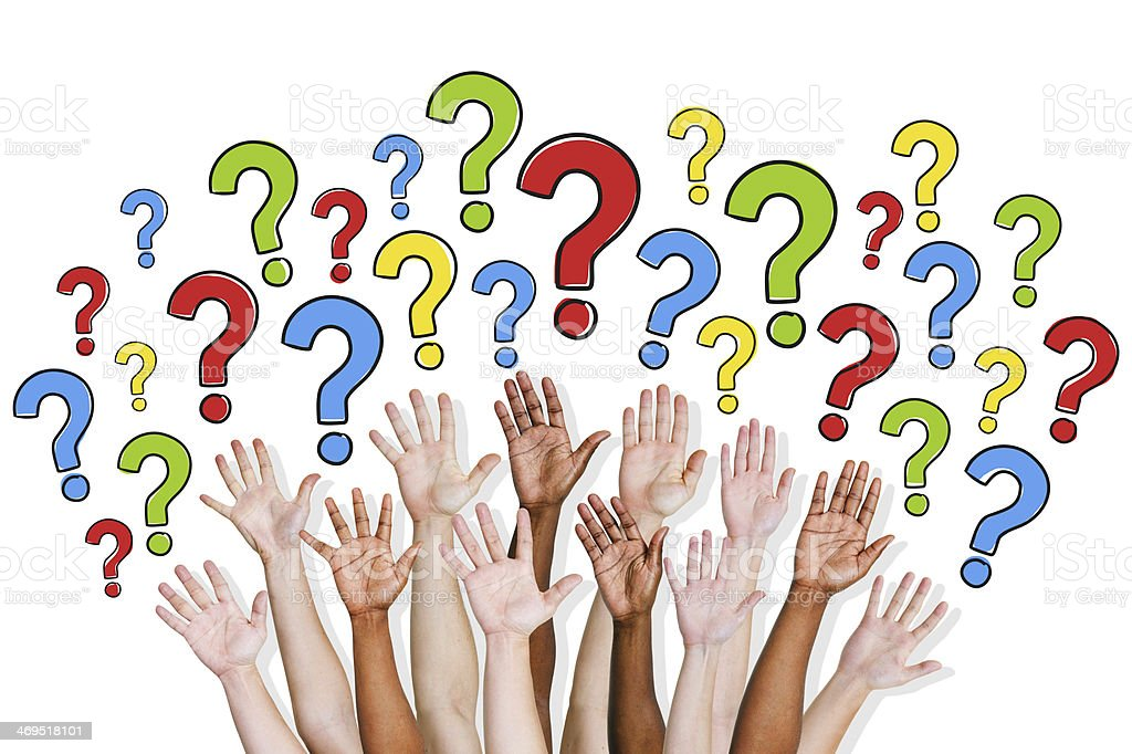 Group of People Asking Questions stock photo
