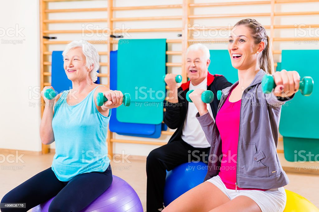 Group of people at physiotherapy stock photo