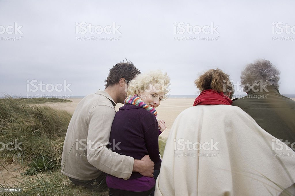 A group of people at the beach royalty-free stock photo