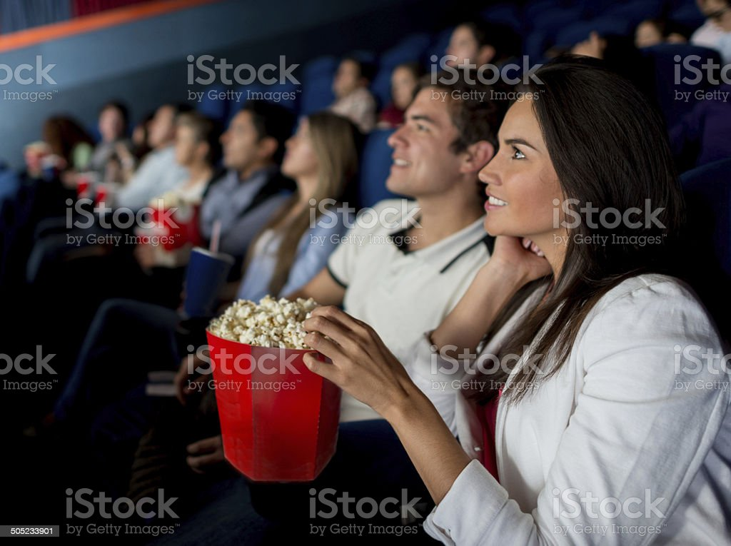Group of people at the cinema stock photo