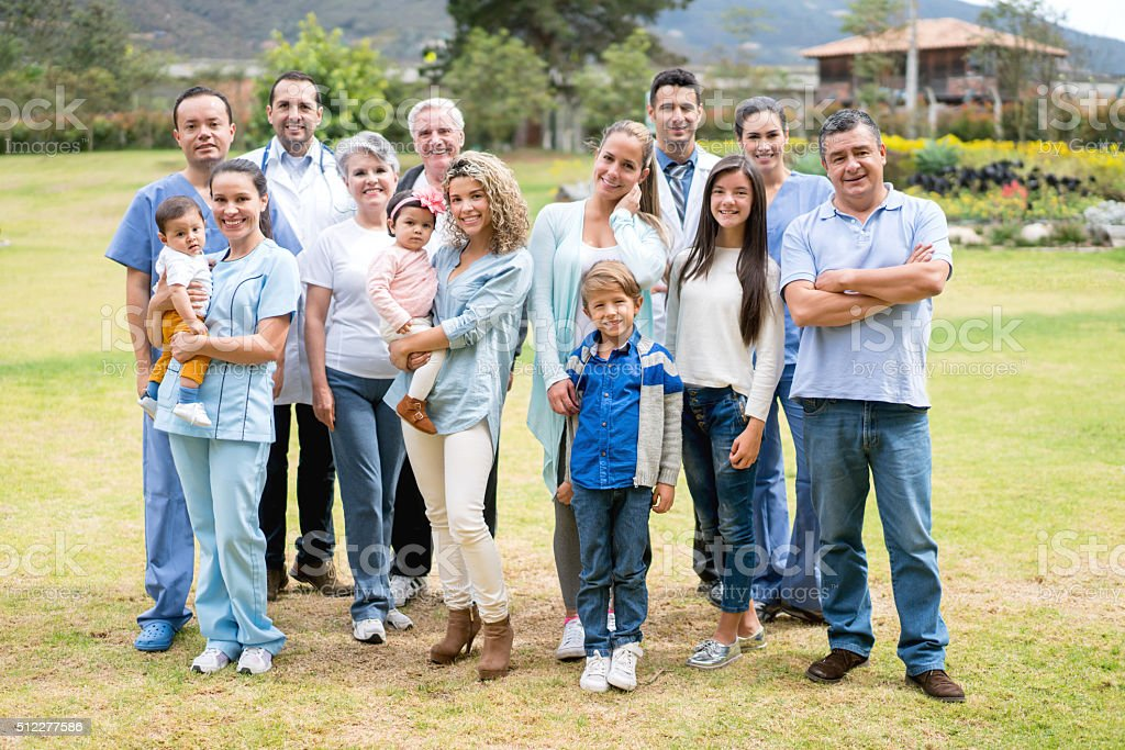Group of people at the hospital stock photo