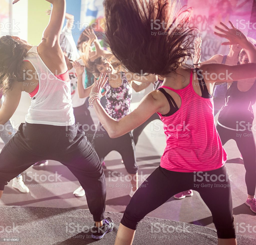 group of people at urban dance class stock photo