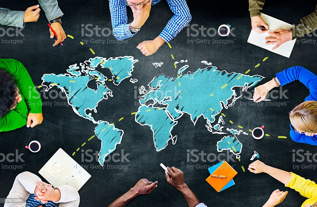 Group of People Blackboard Global Communications Concept stock photo
