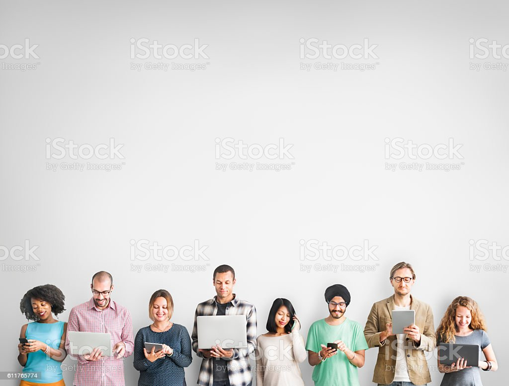 Group of People Connection Digital Device Concept stock photo