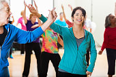 Group of people dancing in exercise class