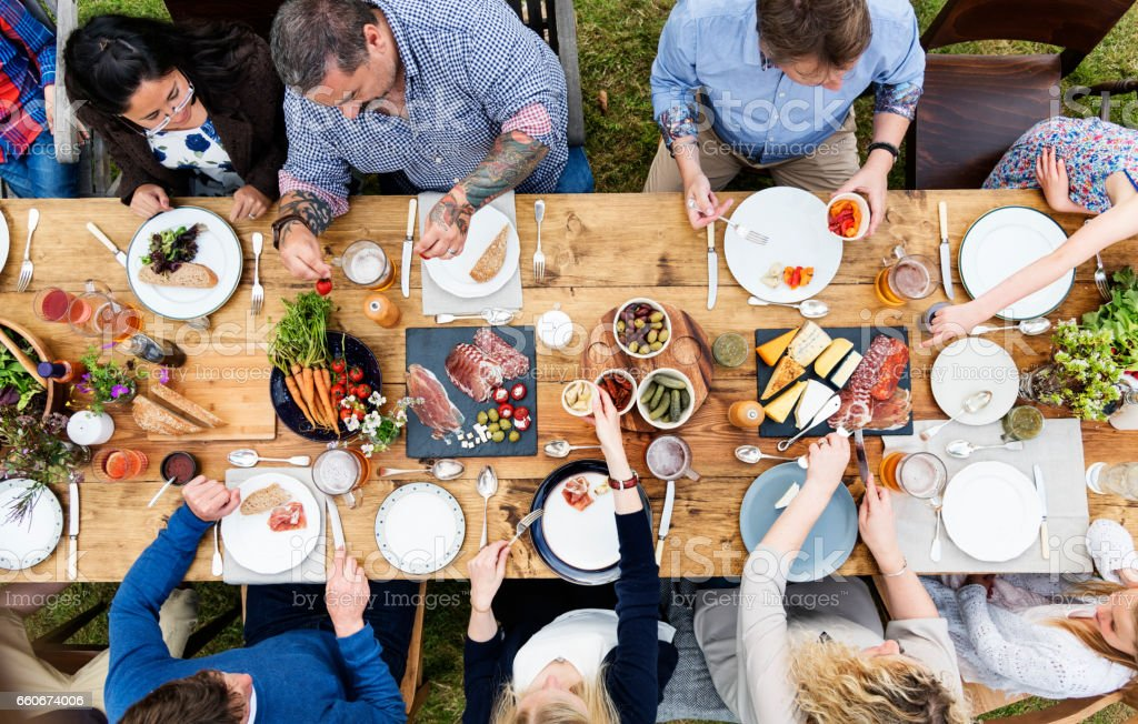 Group Of People Dining Concept stock photo