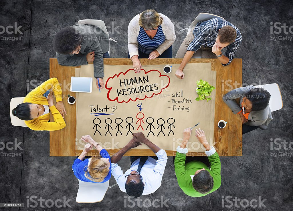 Group of People Discussing about Human Resources Concept stock photo