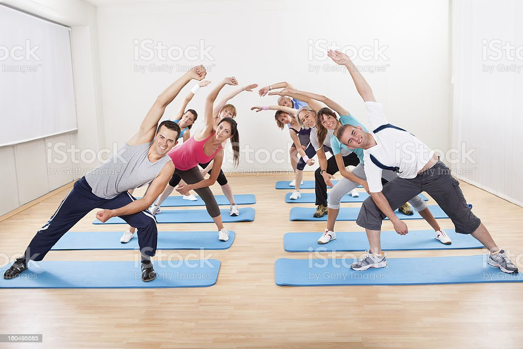 Group of people doing aerobics royalty-free stock photo