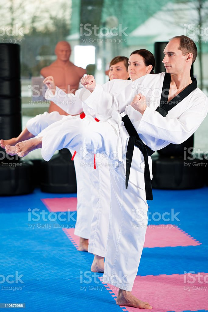 Group of people doing martial art training in the gym stock photo
