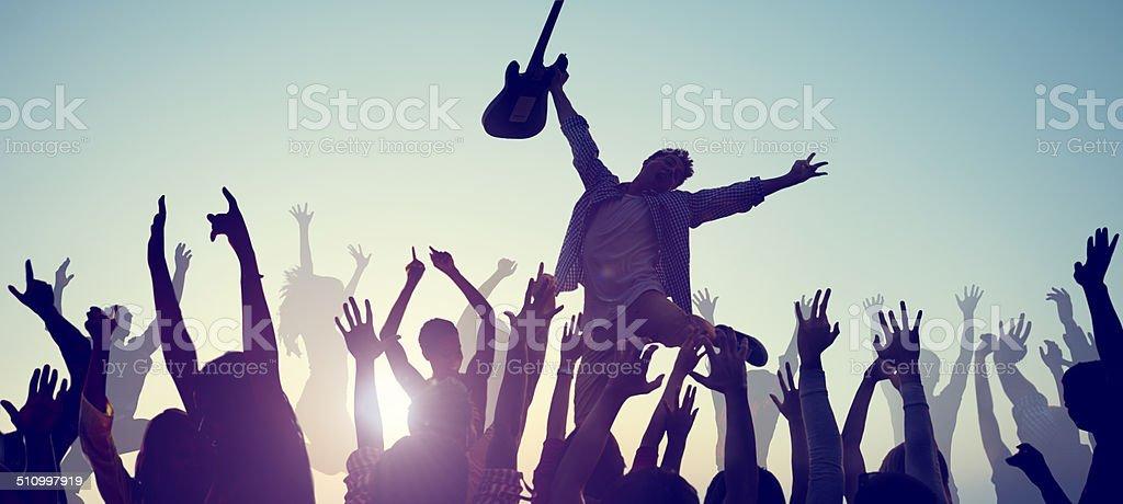 Group of People Enjoying Live Music stock photo