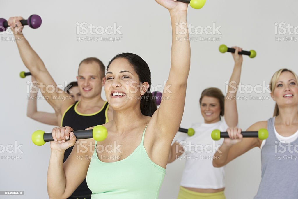Group Of People Exercising In Dance Studio stock photo