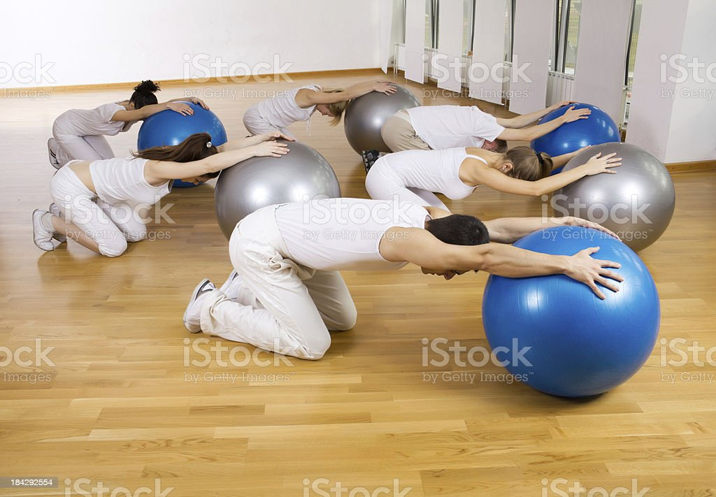 Group of people exercising with fitness balls. royalty-free stock photo