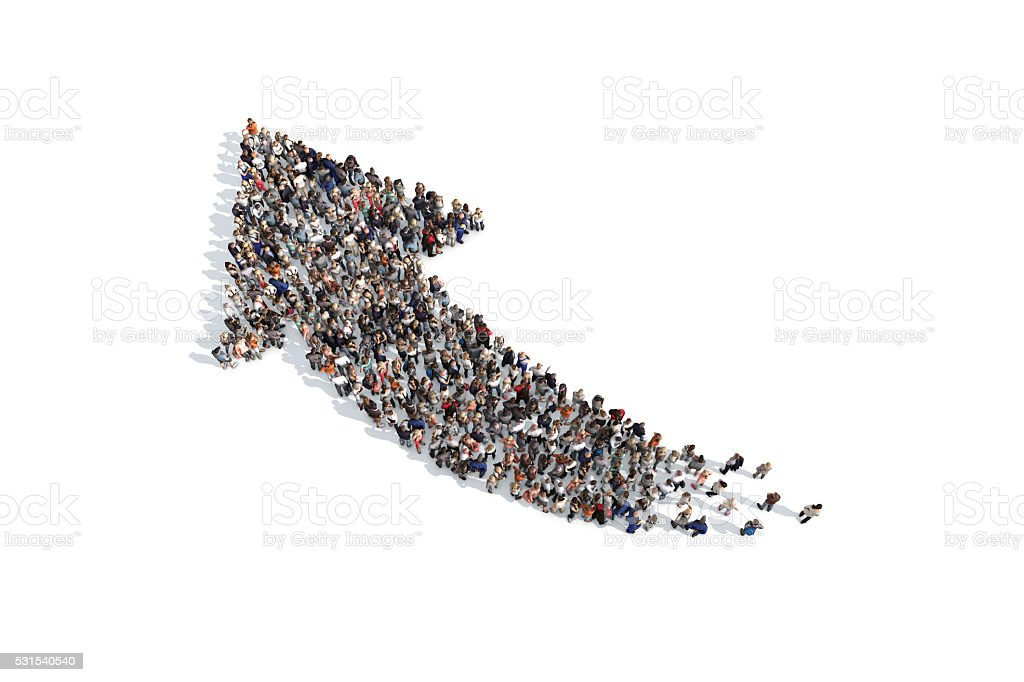 Group of people forming a directional arrow sign stock photo
