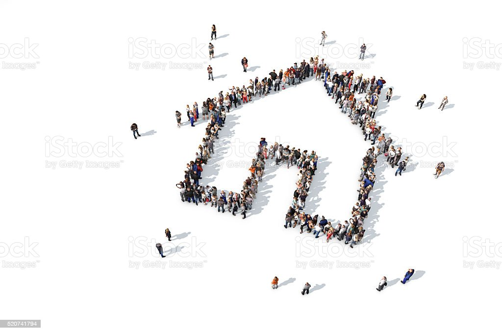 Group of people forming a house icon stock photo