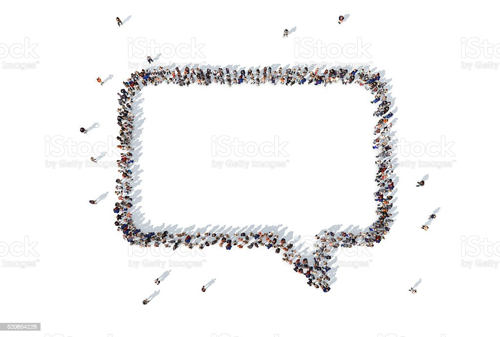 Group of people forming a speech bubble symbol stock photo