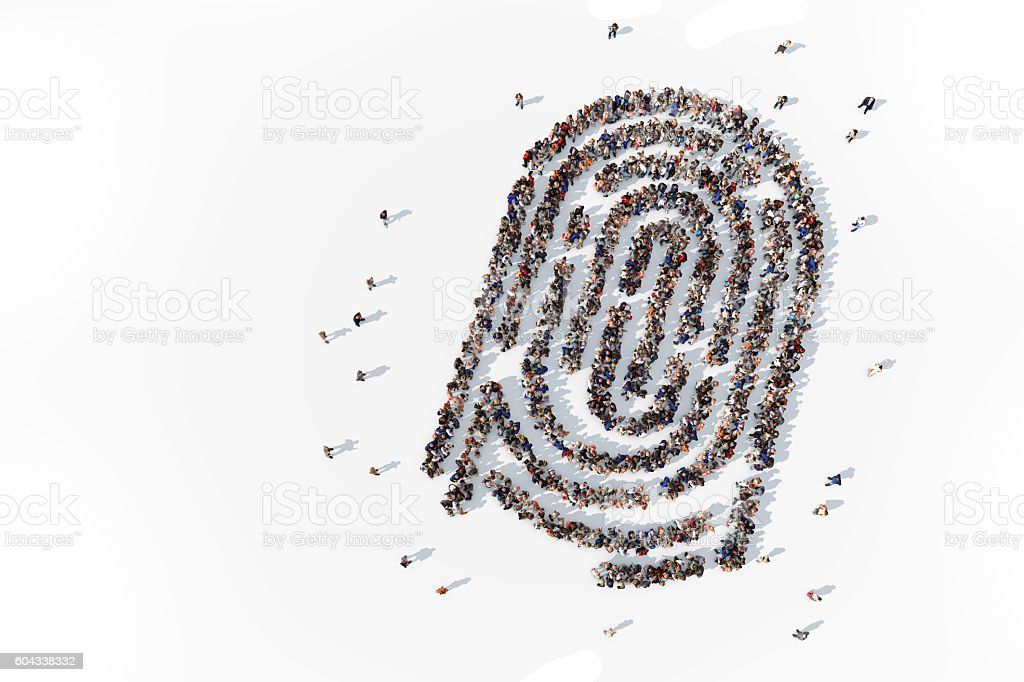 Group of people forming fingerprint stock photo