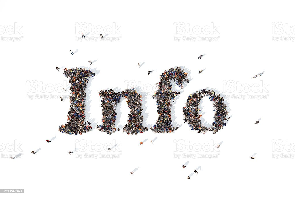 Group of people forming the word info stock photo
