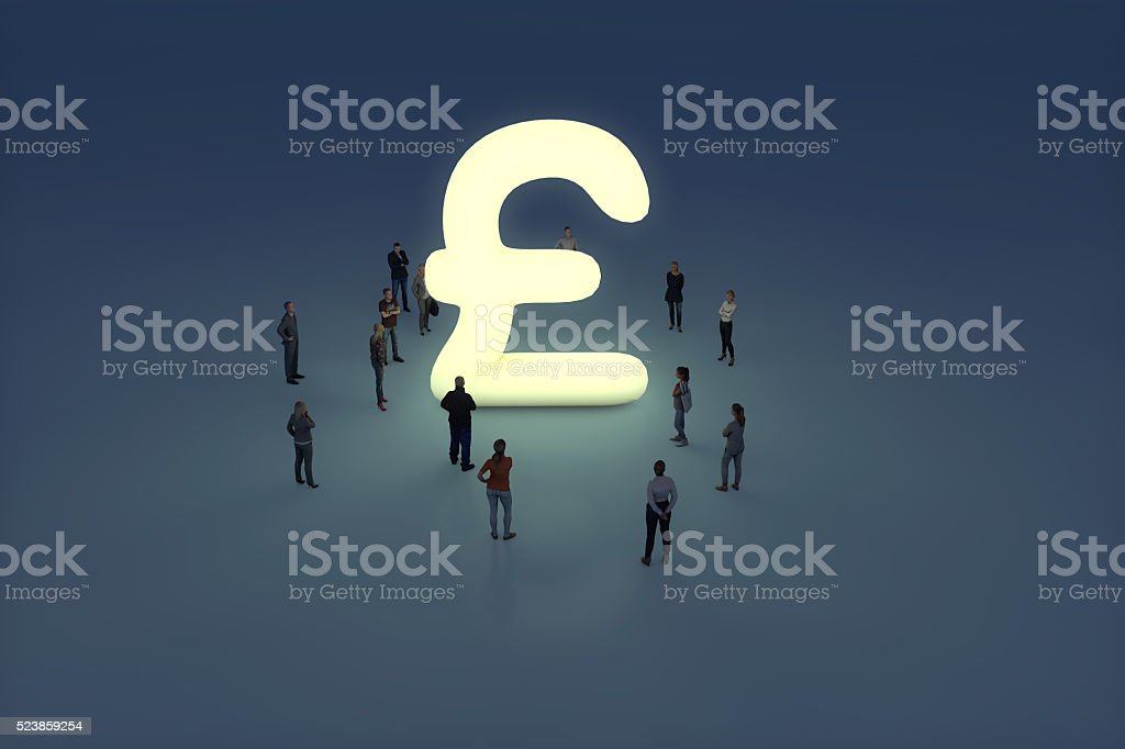 Group of people gathering around a glowing pound sterling symbol stock photo