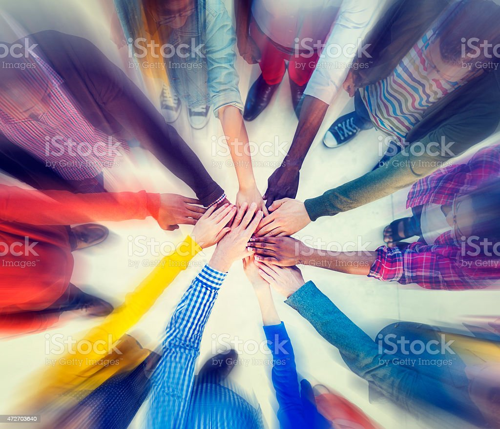 Group of People Hands Clasped Concept stock photo
