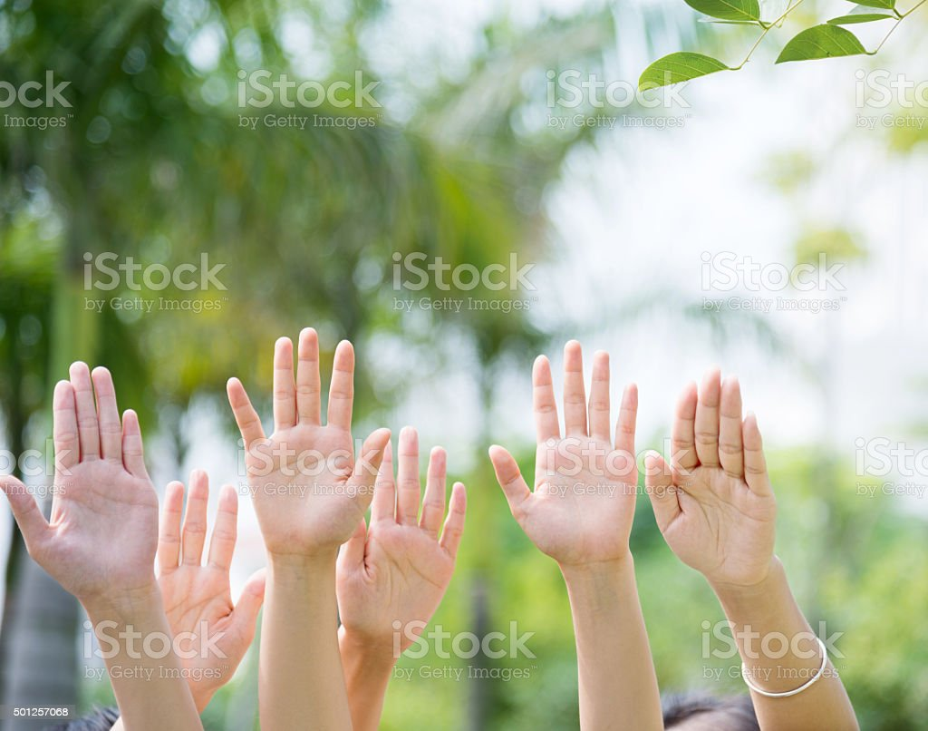 Group of people hands raised up stock photo