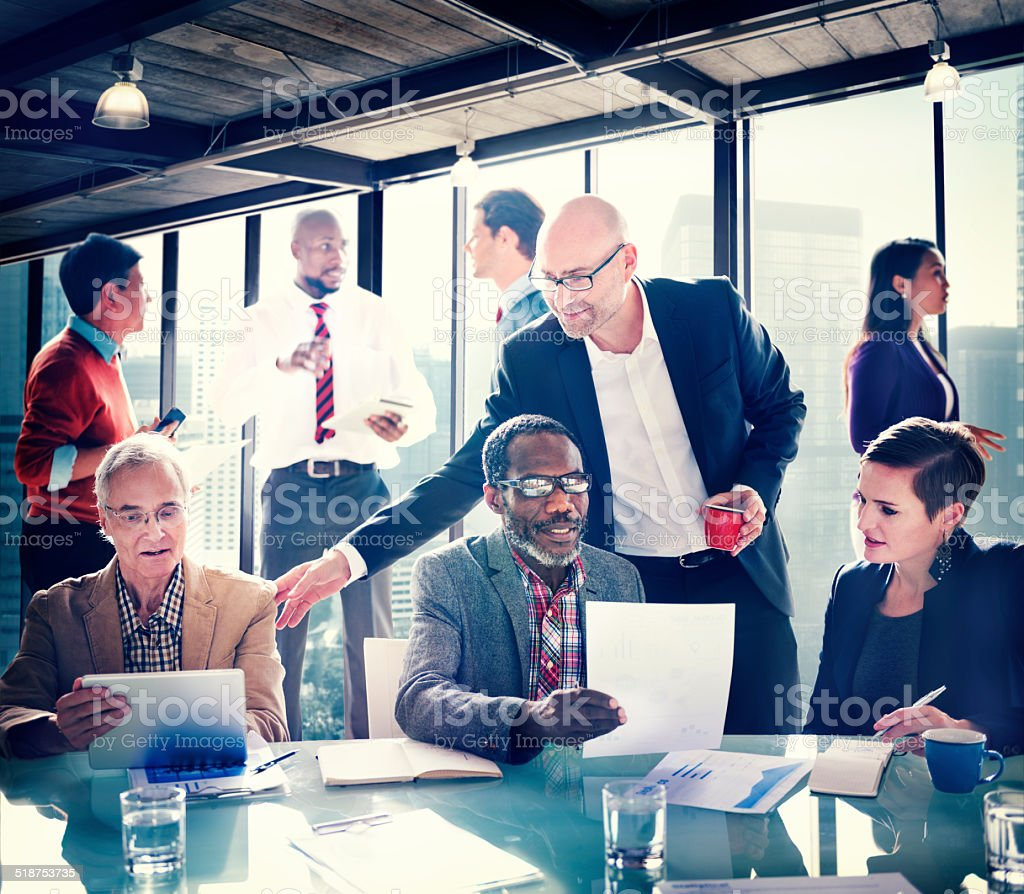 Group of People Have a Meeting in the Office stock photo