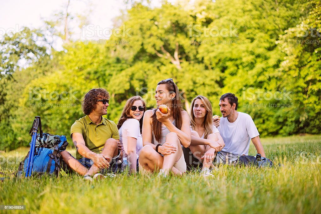 Group of people having picnic in nature stock photo