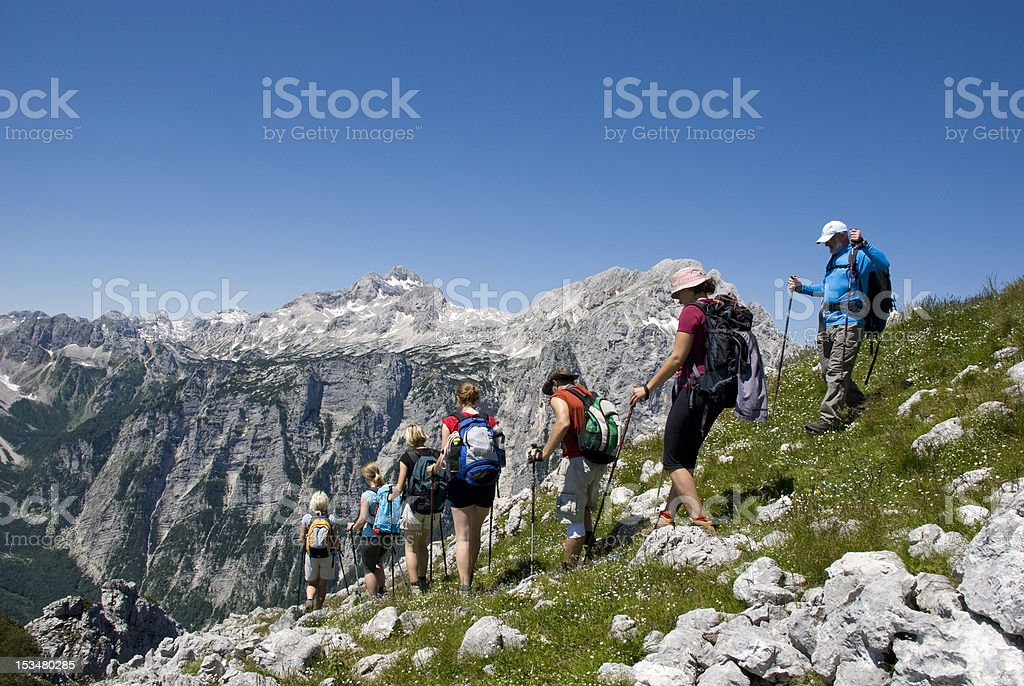 Group of people hiking stock photo
