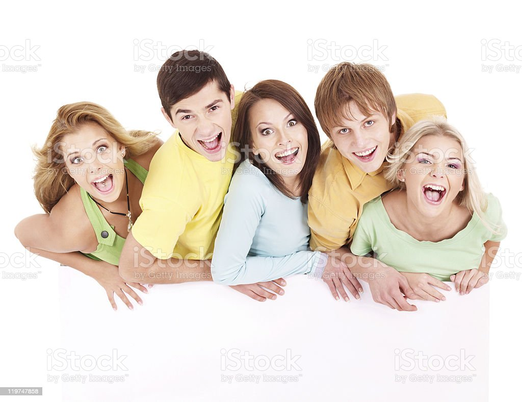 Group of people holding banner. royalty-free stock photo