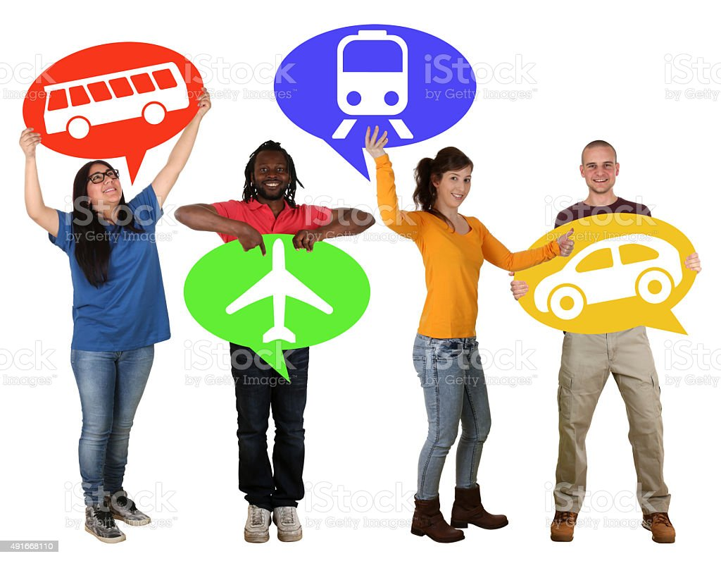 Group of people holding speech bubbles choosing bus, train, car stock photo
