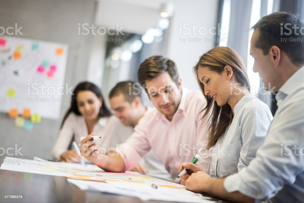 Group of people in a business meeting stock photo