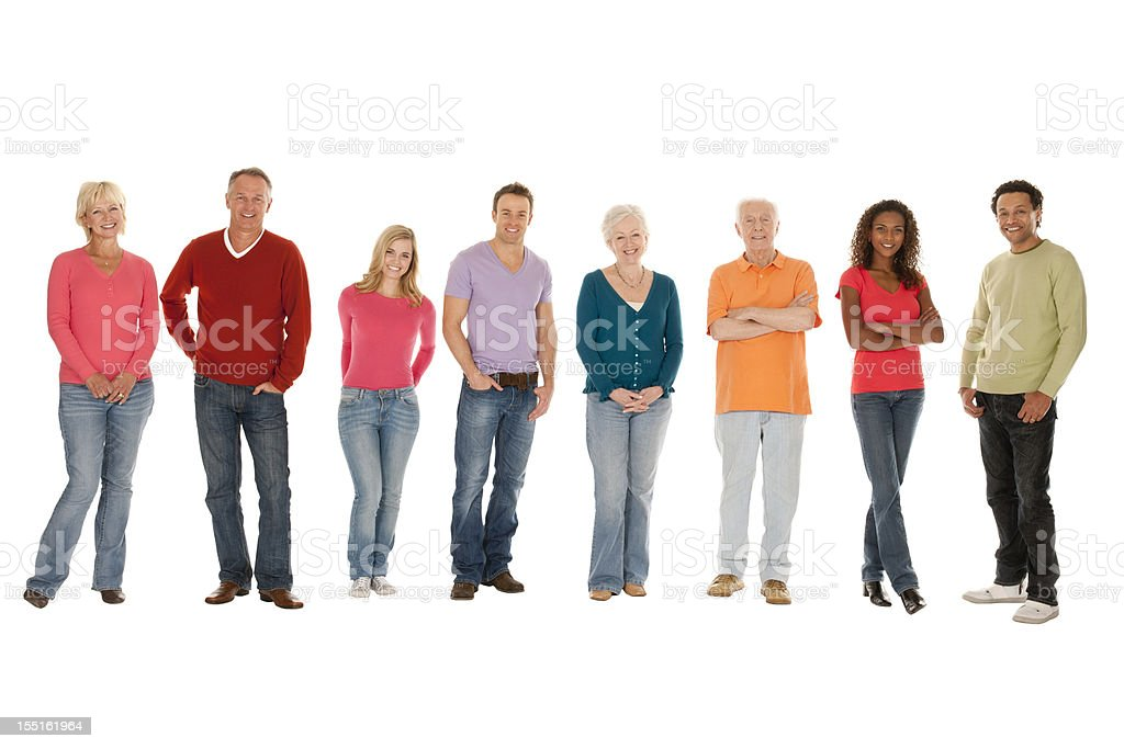 Group of People in a Line stock photo