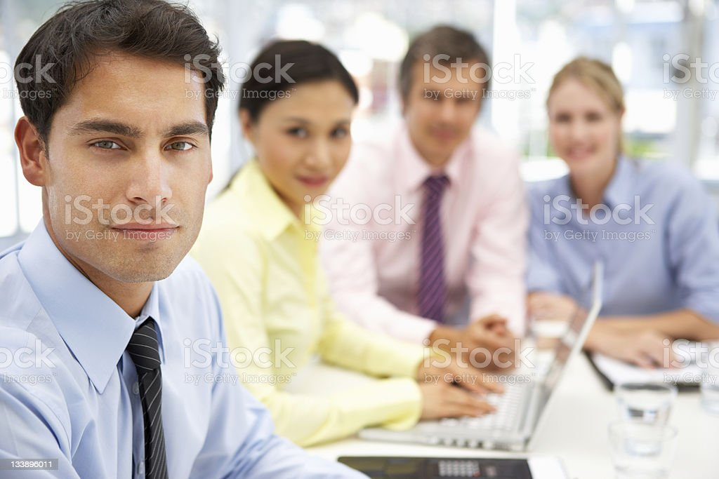 Group of people in business meeting royalty-free stock photo