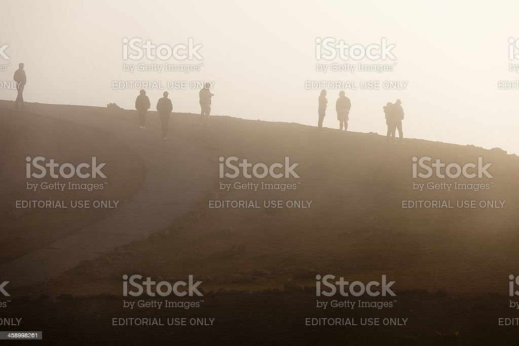 Group Of People In Fog, Maui royalty-free stock photo