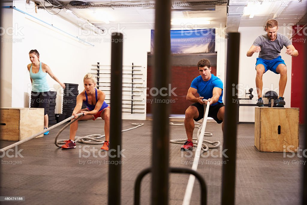 Group Of People In Gym Circuit Training stock photo
