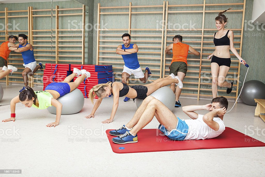 Group Of People In Gym royalty-free stock photo
