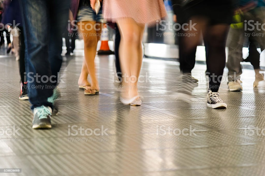 Group of people in motion stock photo