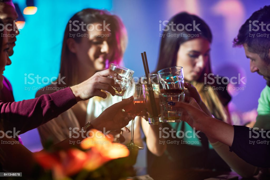 Group of people in the bar stock photo