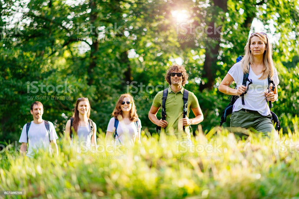 Group of people lead by woman hiking in woods stock photo