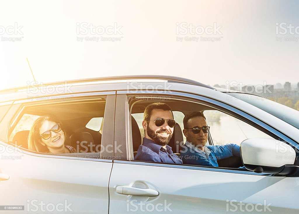 Group of people looking for outdoor adventure stock photo