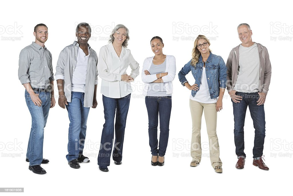 Group of people of different races standing in row royalty-free stock photo