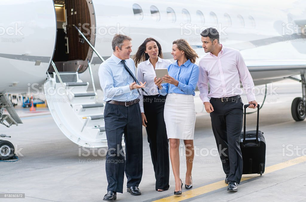 Group of people on a business trip stock photo