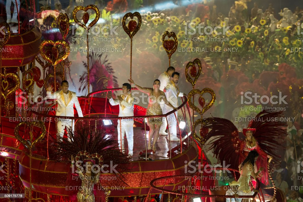 Group of people on a carnival float stock photo