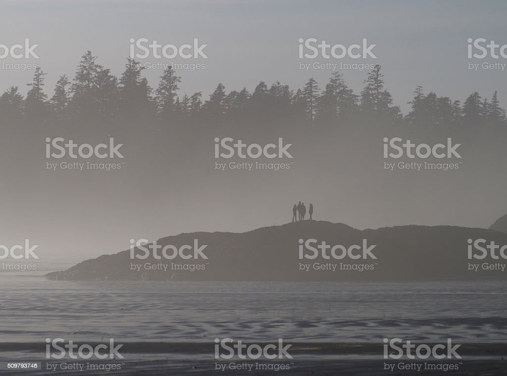 Group of People On A Small Island Near Tofino, Canada stock photo