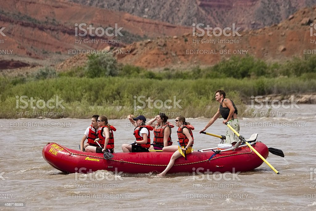 Group of people rafting, Colorado River in summer royalty-free stock photo